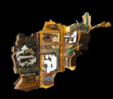 """Afghan Map"" 2010. Wood, various materials. 42""x 72""x 5"""