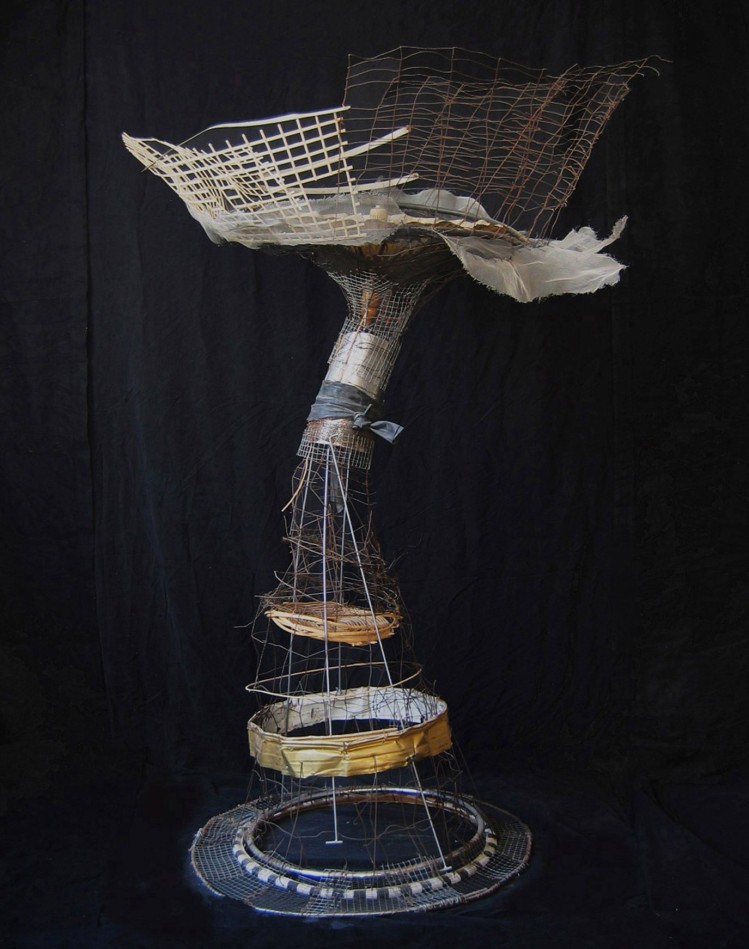 """Chastity"" 2010. Wire, plastic, bamboo, paper parasol. 74""x52""x52"""