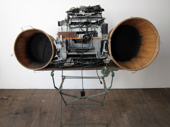 """Job Search"" 2011. Electronics, wood, wood baskets. 54""x64""x24"""