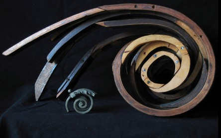 """Swirl"" 2007. Wood, found objects. 14""x24""x12"""