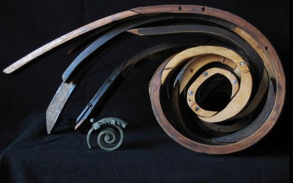 """""""Swirl"""" 2007. Wood, found objects. 14""""x24""""x12"""""""