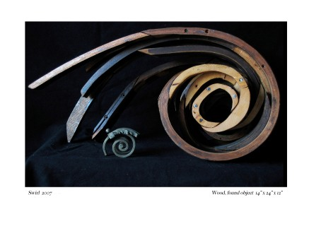 "Swirl 2007 Wood, found objects. 14""x24""x12"""