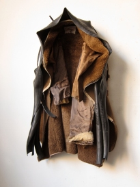 """Winter Coat"" 2014. Cloth, rubber, leather. 32""x 16""x 12"""