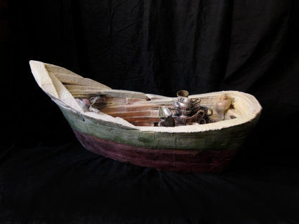 """""""Moby Boat"""" 2013. Wood, wax, found objects. 22""""x52""""x24"""""""