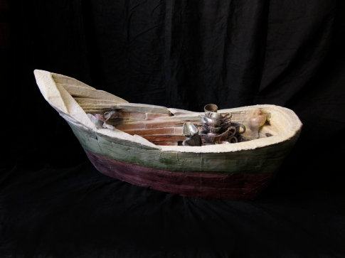"""Moby Boat"" 2013. Wood, wax, found objects. 22""x52""x24"""