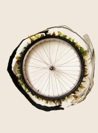 """Ride"" 2012. Bicycle wheel, glass, metal. 32""x32""x8"""