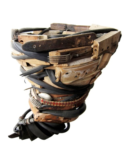 """Occupy"" 2012. Wood, furniture parts, leather, silverware. 30""x18""x18"""