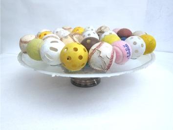 "Street Party 2014 Balls, glass, wax, bowl. 9""x18""x18"""