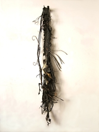 """Vine"" 2013. Tires, wire, phones, chargers, cloth 76""x16""x24"""