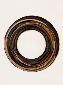 """Well"" 2013. Rubber, wood, velvet. 30""x30"""