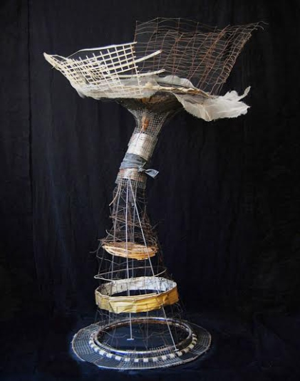 """Chastity"" 2010. Wire, plastic, bamboo, paper parasol 74""x52""x52"""