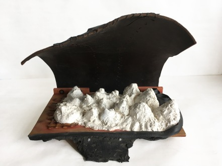 Overhand 2018 Leather, wood, plaster, rubber, bamboo 22 x 16 x 16 in.